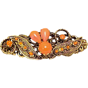 Brooch Coral Glass Bar Pin Signed Austria Designer Vintage