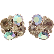 Dazzling Weiss Earrings Rhinestone Smoky Aurora Borealis Signed Vintage Designer Jewelry