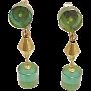 Earrings Translucent Green Acrylic Art Deco Dangle Drop Vintage 1950s Jewelry