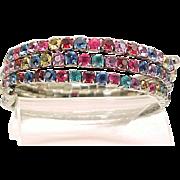 Wrap Bracelet Art Deco Sparkling Multi Colored Rhinestones Snake Coil