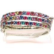 Wrap Bracelet Art Deco Sparkling Multi Colored Rhinestones Snake Coil