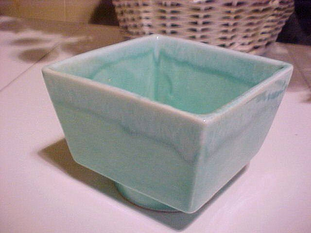 Planter California USA Turquoise Drip Vintage Pottery