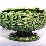 "1960s Compote Pedestal Bowl ""Wicker Weave"" E O Brody Signed Green RARE Vintage"