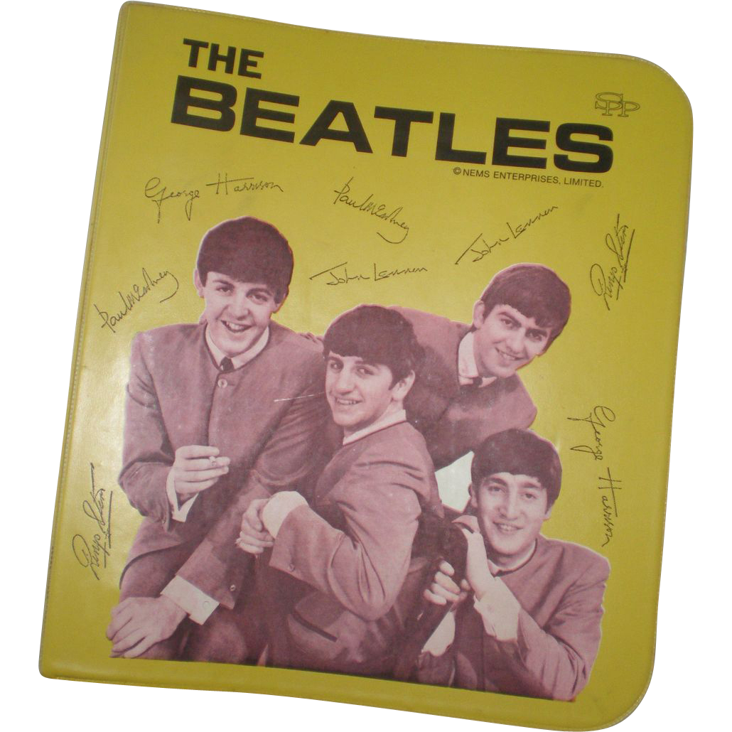 Original Beatles Memorabilia Yellow Vinyl School Binder