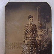 1880s Tintype - Young Woman with Fancy Dress - Excellent Detail - Free Shipping