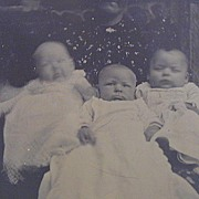 1880s-1890s Tin Type of Triplet Infants - Special and Rare!! FREE Shipping