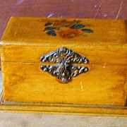 Late 19th c Antique Sewing Thread Box w/ Handpainted Roses - Clark's ONT
