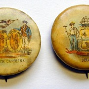 Four Sweet Caporal Tobacco Premium Pinbacks - Delaware, South Carolina, Montana, California