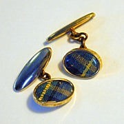Vintage Blue Plaid Cuff Links in a Gold Toned Setting