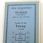 Vintage 1933 Topographical of Vevey, Switzerland - Home to the Nestlé Company