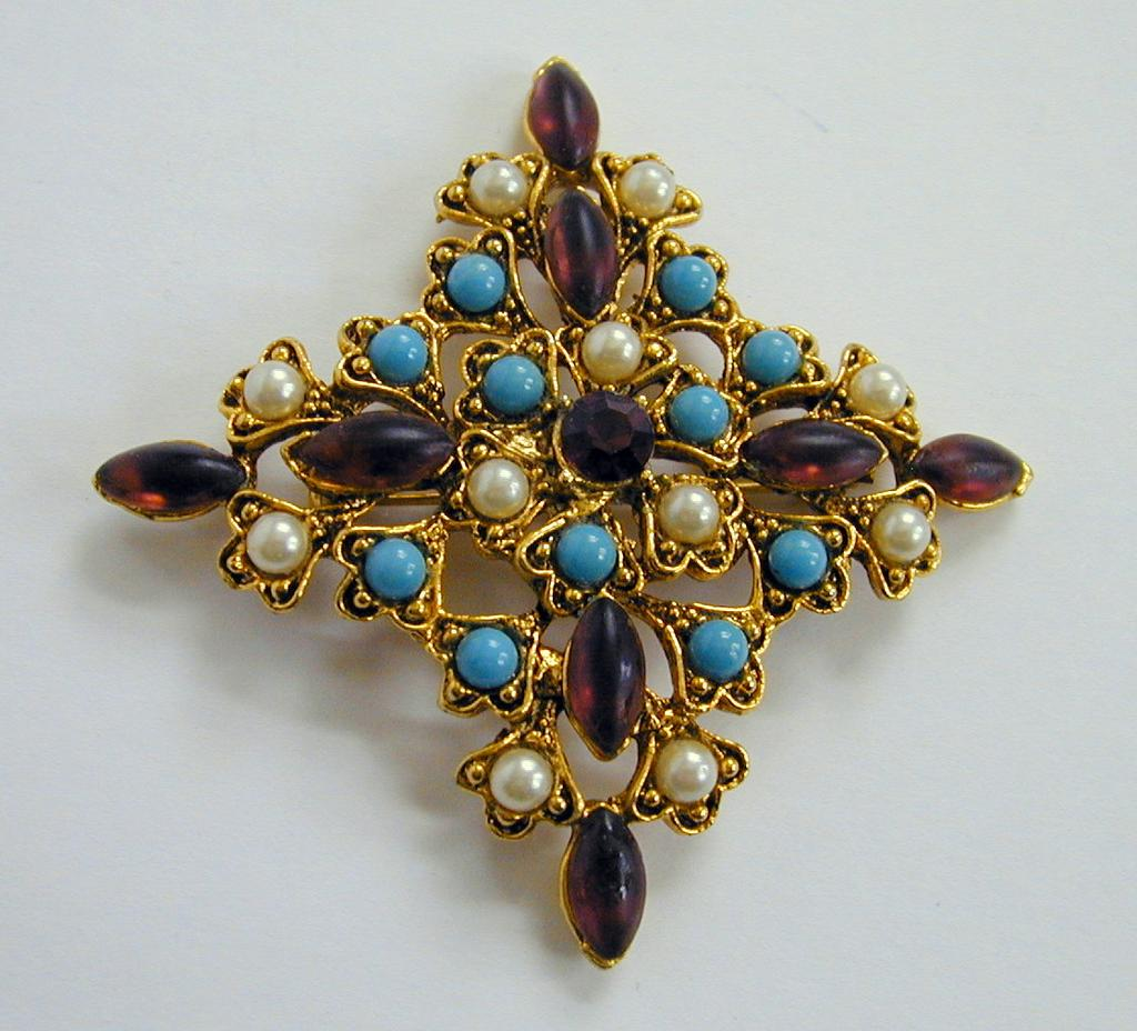 Bold Vintage Pin with Bold Color - Faux Pearl, Amethyst and Turquoise! Unmarked Weiss