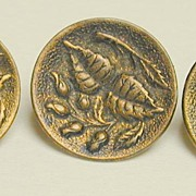 Three Old Brass Buttons c. 1900 - Flower Buds and Leaves