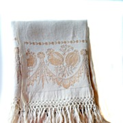 Mid -19th c. Damask Show Towel with Hand-knotted Fringe