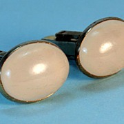 Vintage Goldtoned Cuff Links – Large Oval Moonstones