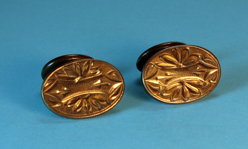 Victorian Cuff Links – Beautifully Engraved, Goldplated