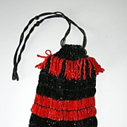 Antique Beaded Bag – Black and Red Stripes with Double Fringe