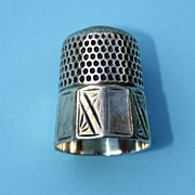 Antique Simons 19th century Sterling Silver Thimble – Ten Panel
