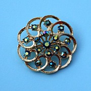 Sparkly and Bright Swirly Rhinestone Brooch