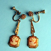 Vintage Delicate Cameo Earrings