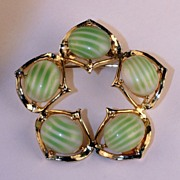 Brooch with Green Striped Glass Cabochons