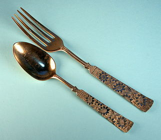 Sunflowers! Young Child's Fork and Spoon, 19th c