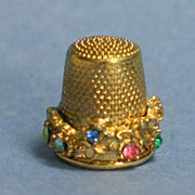 Unusual Rhinestone-Studded Collector's Thimble