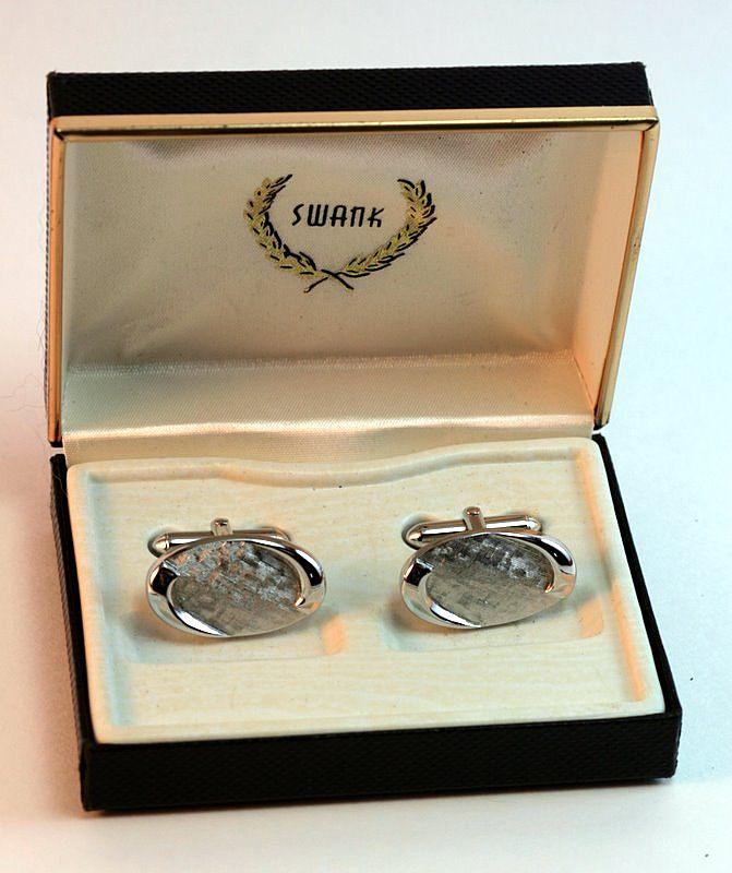 Vintage 1950s Silvertoned Cuff Links in Original Swank Box