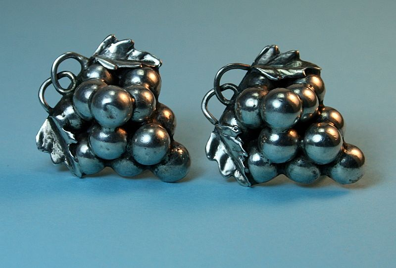 Vintage Mexican Sterling Earrings – Figural Grapes