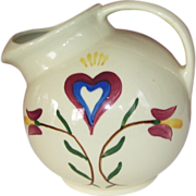 Pennsylvania Dutch Heart Pitcher by Shawnee,  8 Cups ,Marked U.S.A 64, 1949-1950