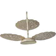 Vintage Folding three piece Tiered Metal Serving Plates with Pedestal Base and Carrying Handle