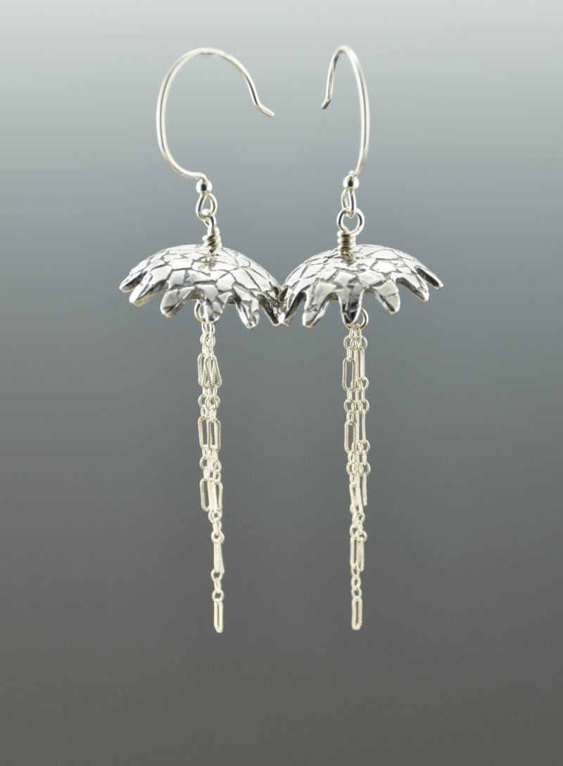 Jellyfish!  Handmade Fine Silver Earrings, French Wires
