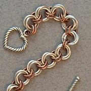 Sterling Silver & Copper Flower Chain Maille Bracelet