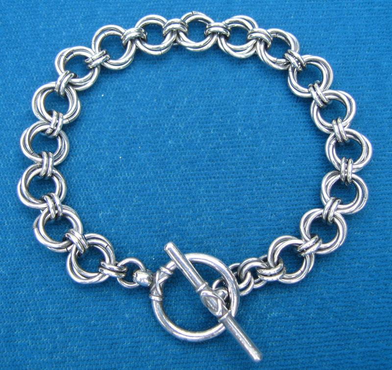 Sterling Silver Chain Maille Bracelet, Flower Weave, Toggle Clasp