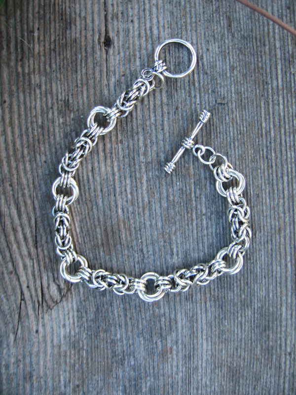 "Sterling Silver ""Byzantine & Flower"" Chain Maille Bracelet, Toggle Clasp"