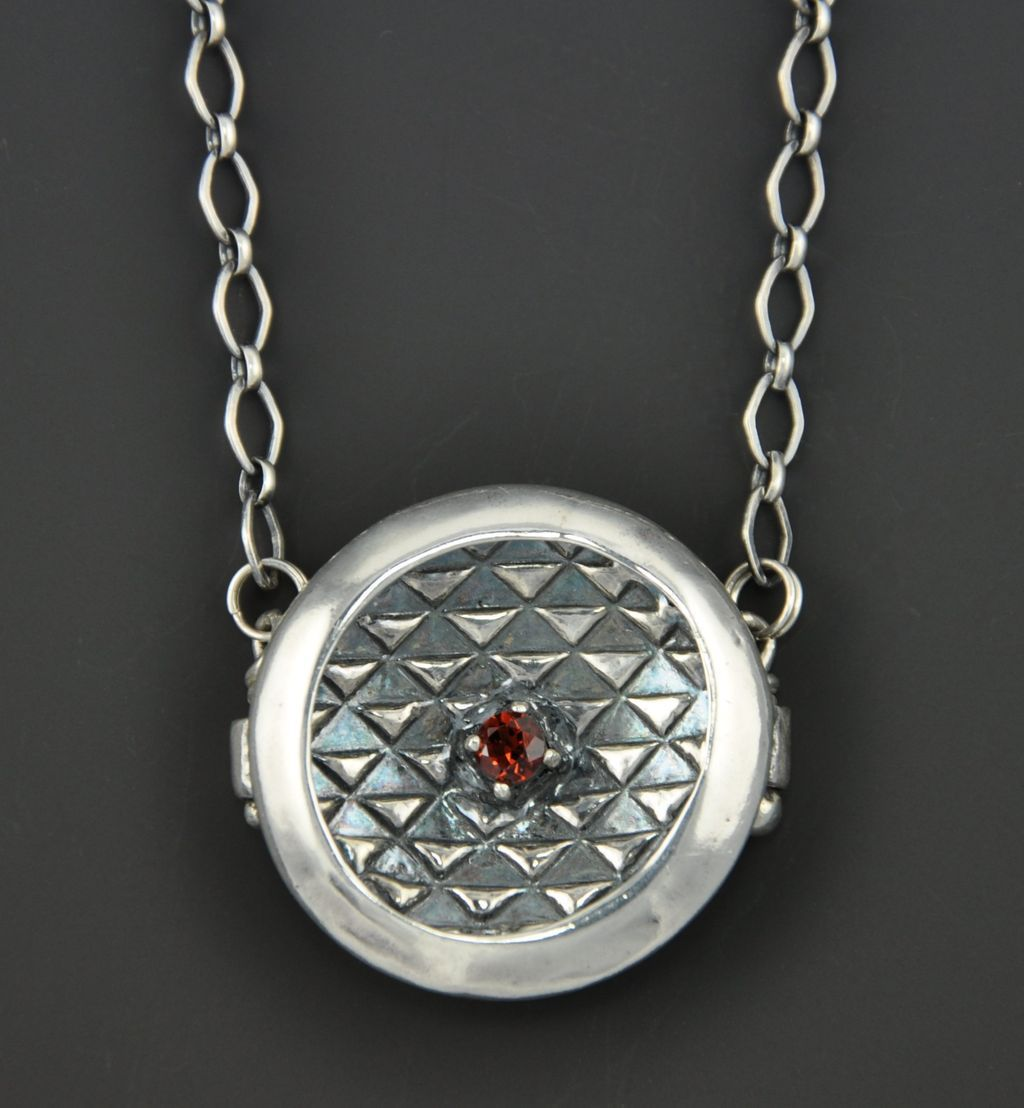 Garnet Reflections - Fine Silver Necklace