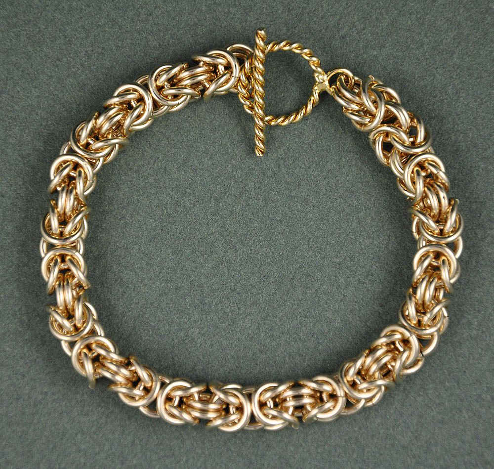 Gold Fill Byzantine Chain Maille Bracelet with a Toggle Clasp