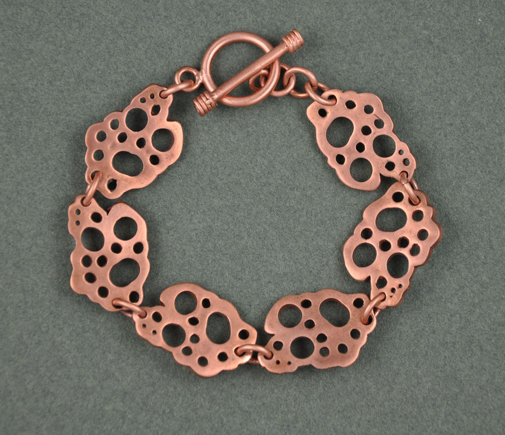 One of a kind Copper Bracelet with a Toggle Clasp
