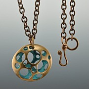 Bronze and Blue Pendent; hand made, original design