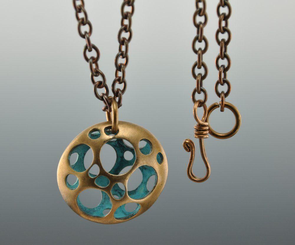 Bronze and Blue Pendent; hand made, original design