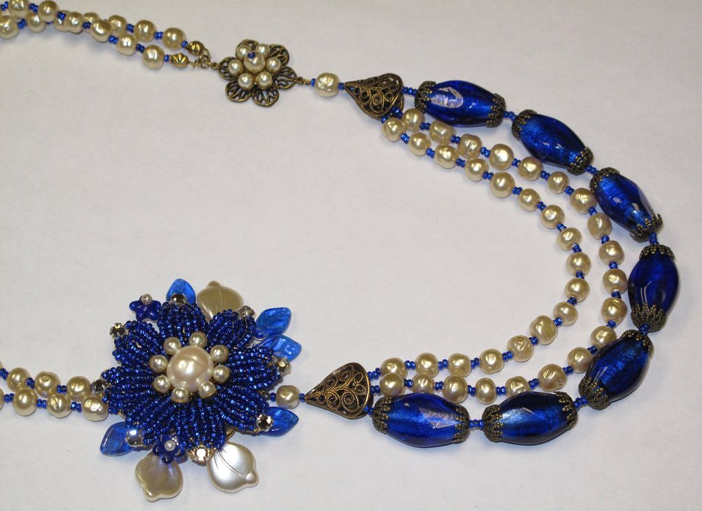 artisan beaded flower floral faux baroque pearl glass