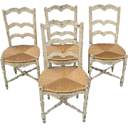 Set of 4 18th century traditional rush-seat Chairs from Provence, Southern France