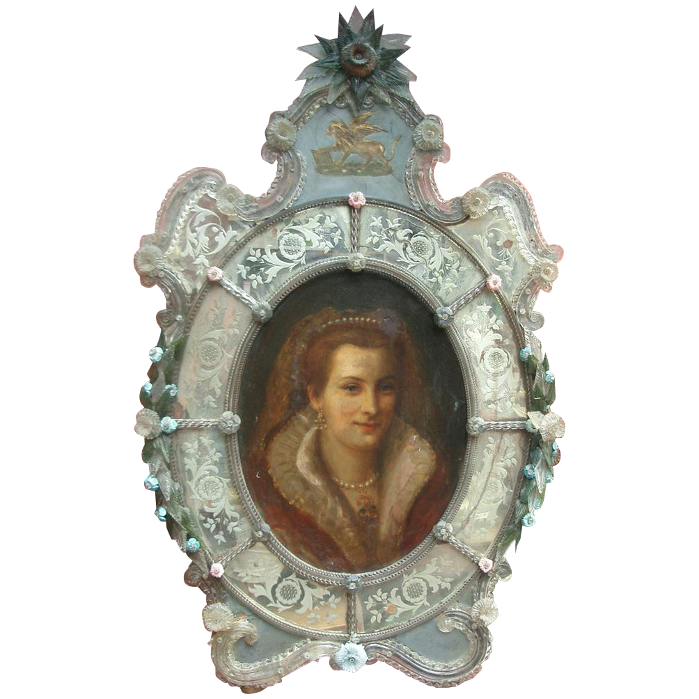 Rare Venetian Glass Painting from relic on Ruby Lane