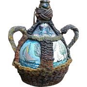 Early 19th C.'Sailorwork' hand-painted 'Grog' Jar