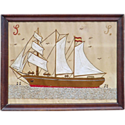 Sailor's Needlework picture of a 3 masted Spanish Sailing Ship