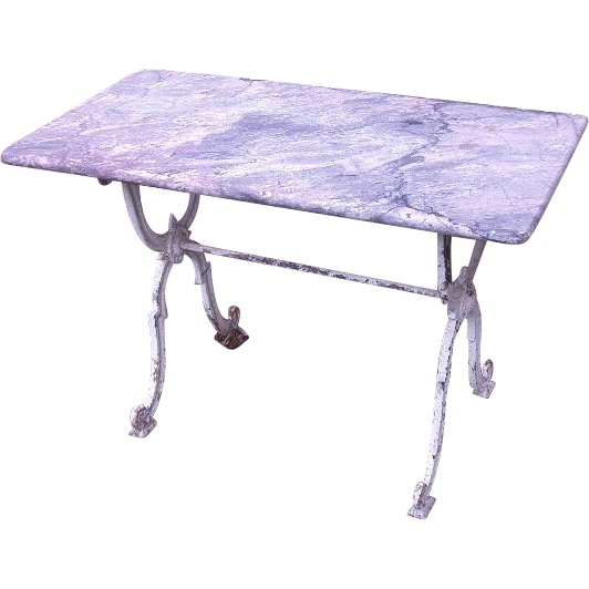 French Garden Console Table with Marble Top