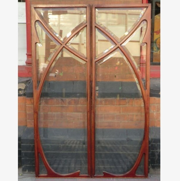 Pair of Bevelled glass Cabinet Doors. c. 1900