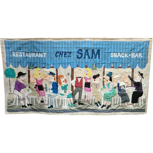 Signed 1980s Patchwork Sign 'Chez Sam Restaurant  '