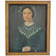 Naive Painting of French Woman  wearing a Bonnet