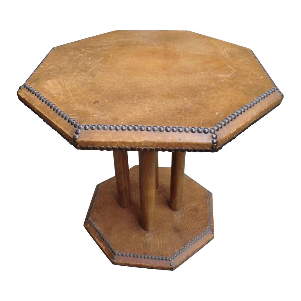 Vintage Leather Covered Coffee Table From Relic On Ruby Lane
