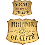 Pair of Engraved Brass Butcher's Plaques from France.